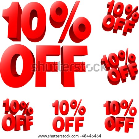 10% off Discount sale sign. 3D vector illustration. AI8 compatible. - stock vector