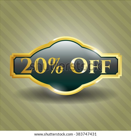 20% Off golden emblem - stock vector