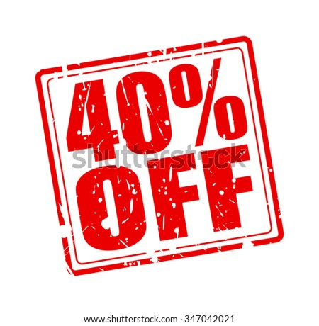 40% OFF red stamp text on white - stock vector