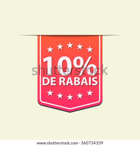 10% Off ribbon label. Blue  color . French text. Vector illustration. - stock vector