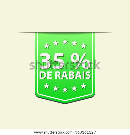 35% Off ribbon label. Green color. French text. Vector illustration. Translation : (title) % Off