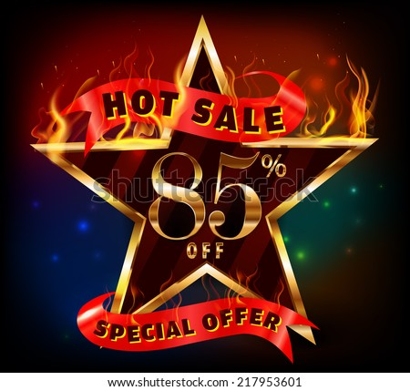 85% off, 85 sale discount hot sale with special offer and fire effect- vector EPS10