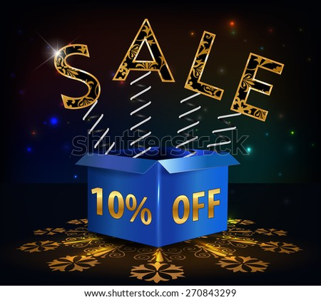 10% off, 10 sale discount hot sale with special offer spring and box - vector EPS10 - stock vector