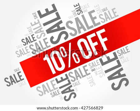 10% OFF Sale words cloud, business concept background - stock vector