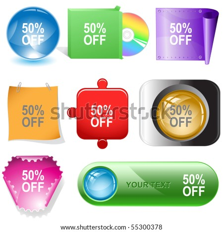 50% OFF. Vector internet buttons. - stock vector