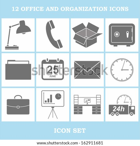 12 office and organization icons (icon set) - stock vector