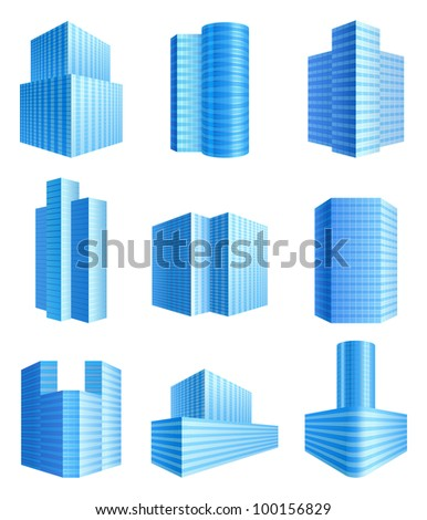 9 office buildings icons set. EPS 10. File contains transparencies! - stock vector