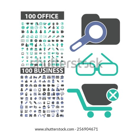 200 office, business, management, workplace, teamwork, media isolated icons, signs, illustrations concept set on background. vector - stock vector