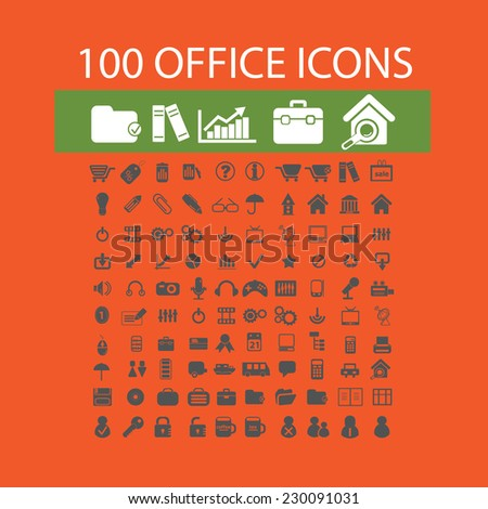100 office, business, marketing, retail icons, signs, illustrations set, vector - stock vector