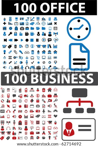 200 office & business signs. vector - stock vector