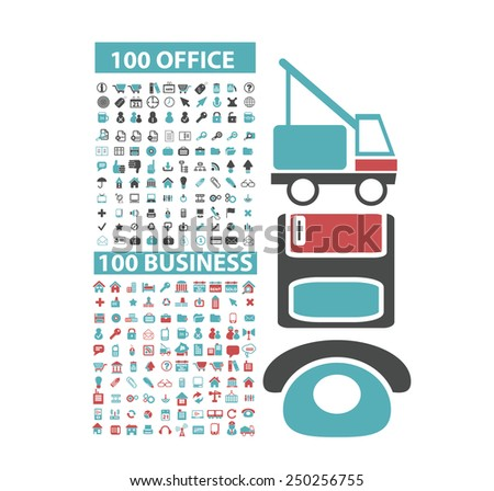 200 office, business, website, internet icons, illustrations, signs set, vector - stock vector