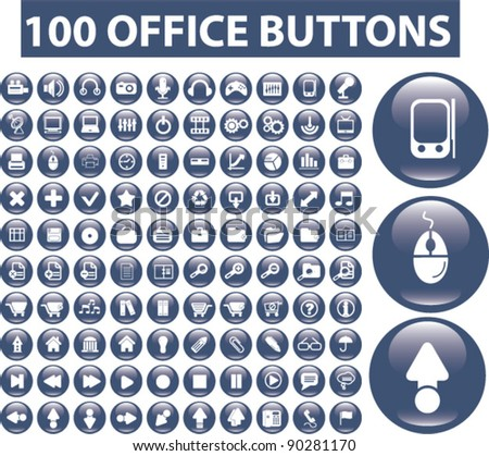 100 office buttons set, vector illustrations