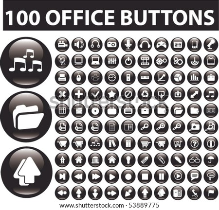 100 office buttons. vector