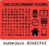 100 office document icons, illustrations, vector - stock