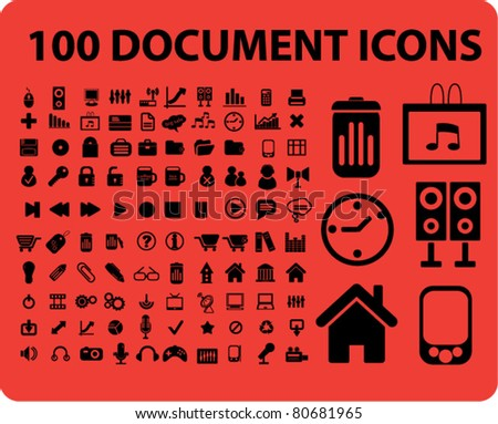 100 office document icons, illustrations, vector - stock vector