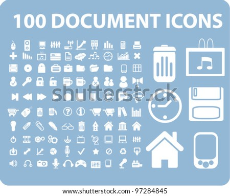 100 office document icons set, vector - stock vector