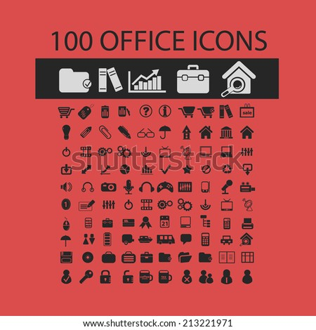 100 office, document isolated icons, signs, symbols, illustrations, silhouettes, vectors set - stock vector