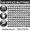 100 office glossy buttons, vector - stock photo