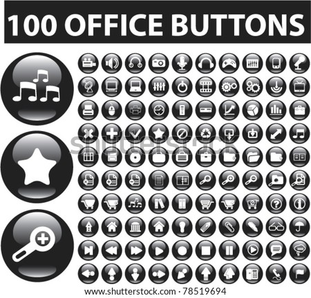 100 office glossy buttons, vector - stock vector