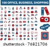 100 office, media, shopping, icons, signs vector - stock vector