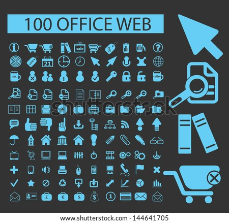 100 office, web icons, signs vector