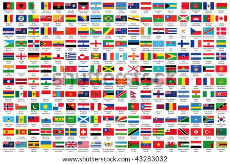 216 Official flags of the world in alphabetical order, with official Country and Capital name, verified by teachers for accuracy. - stock vector