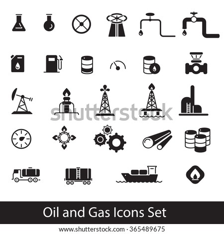 Oil and Gas industry Icons Set  in black on white background - stock vector