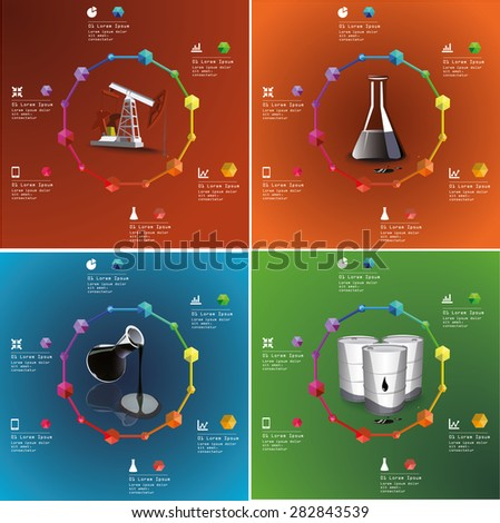 Oil and gas industry infographic set of illustrations - stock vector