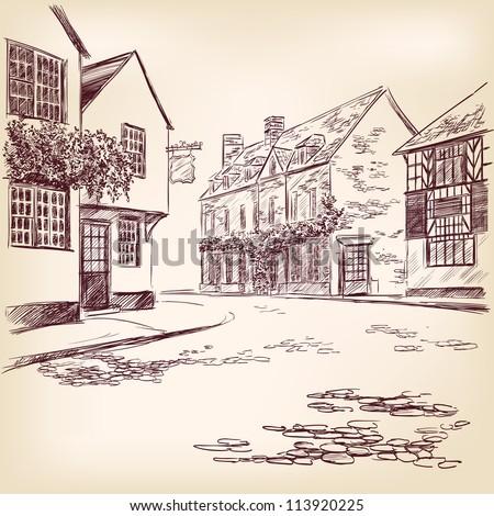old English street  hand drawn vector llustration - stock vector