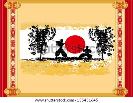 old paper with  silhouette Samurai - stock vector