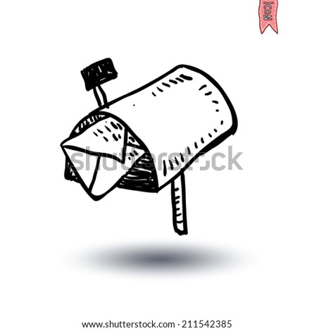 old retro tin mailbox, Hand-drawn vector illustration. - stock vector