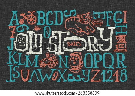 """Old story"" handmade font with cartoon style illustrations - stock vector"