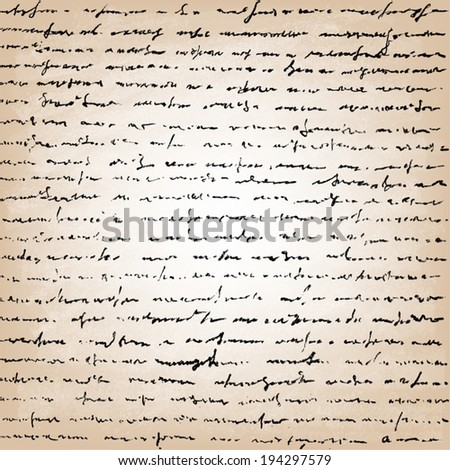 � Old vintage handwriting letter.Vector Illustration of handwriting.