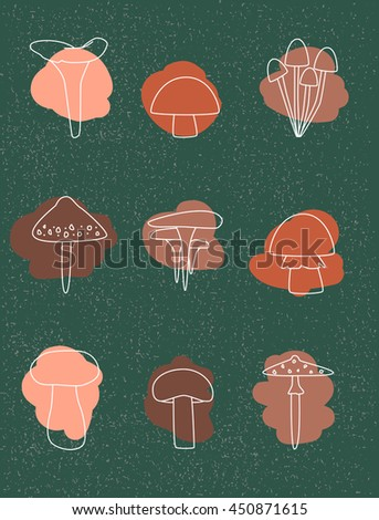 ?ollection of autumn mushrooms on a green textured background. Linear outlines different types of mushrooms. Magnificent mushroom icons with colored spots. Autumn color palette. Vector illustration - stock vector