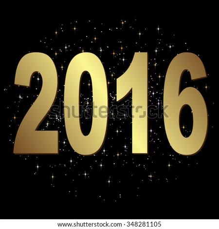 2016 on starry sky, eps10 vector - stock vector