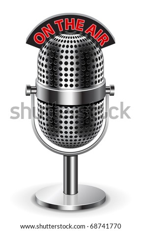 """""""On the air"""" Microphone. The """"air"""" sign its on separate layer, so you can use just the microphone if you like. Enjoy )) - stock vector"""
