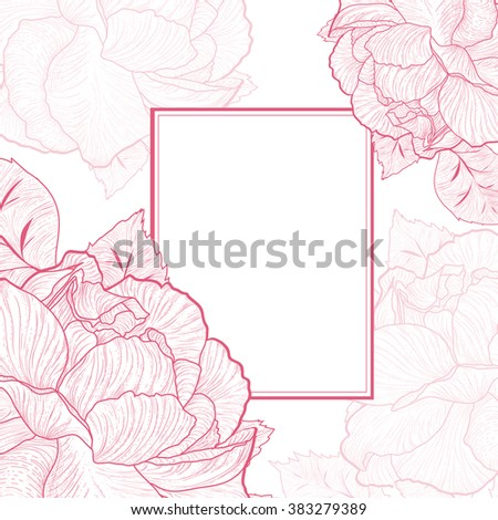 One colored Abstract Vintage Rose Flower Frame, Copyspace - stock vector