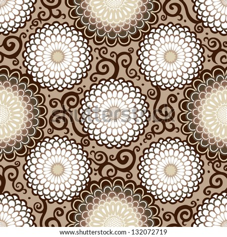 ?ontrasting seamless pattern with large flowers and curls