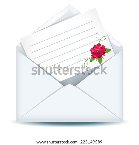 Open envelope with paper and pink rose - stock vector