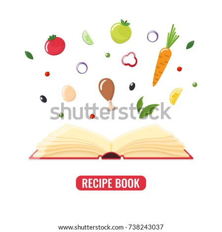 Open Recipe Book Pieces Food Book Stock Vector 738243037