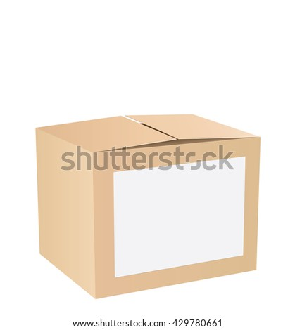 opened cardboard box vector illustration isolated on white background - stock vector