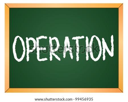 """operation"" word written on chalkboard - stock vector"