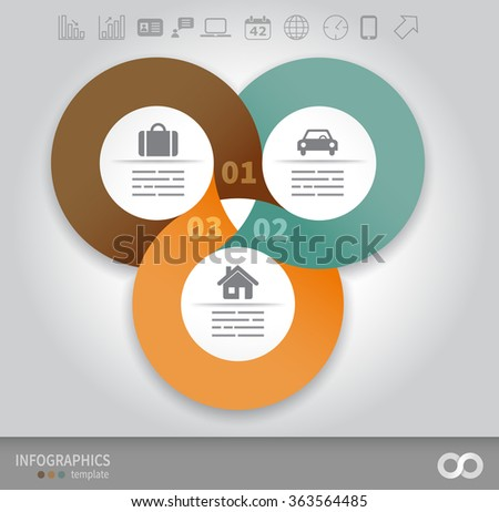 3 options linked circles in origami style infographics presentation template - stock vector