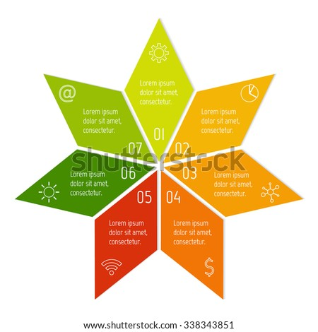 7 options round infographic banner. Vector paper progress steps for tutorial. Number banner template for diagram, graph or chart. Business concept sequence banner. EPS10 star layout. - stock vector