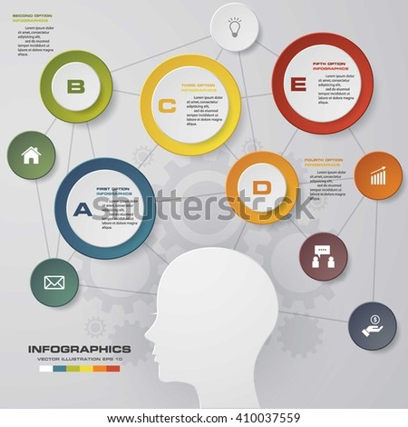 5 options/steps thinking diagram. Design clean number banners template/graphic or website layout. Vector. - stock vector