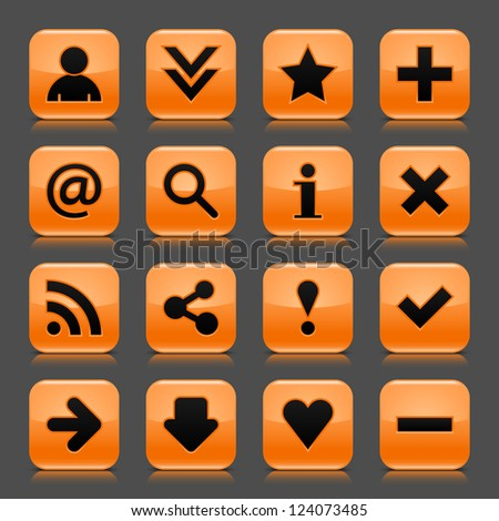 16 orange icon with basic web black sign. Glossy rounded square shape internet button with drop shadow and color transparency reflection dark gray background. Vector illustration design elements 8 eps - stock vector