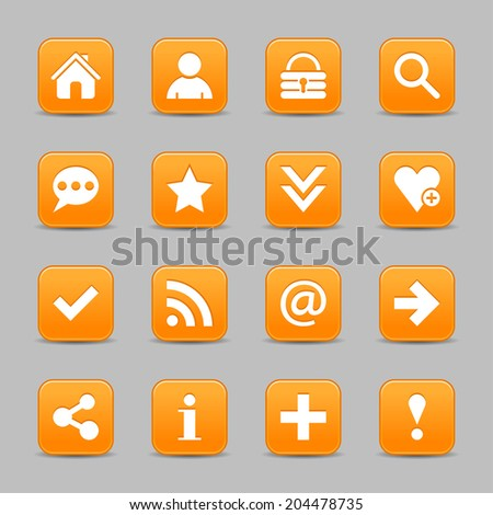 16 orange satin icon with white basic sign on rounded square web button with black shadow on gray background. Vector illustration internet design element save in 8 eps - stock vector
