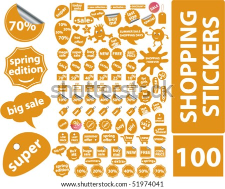 100 orange shopping stickers. vector - stock vector