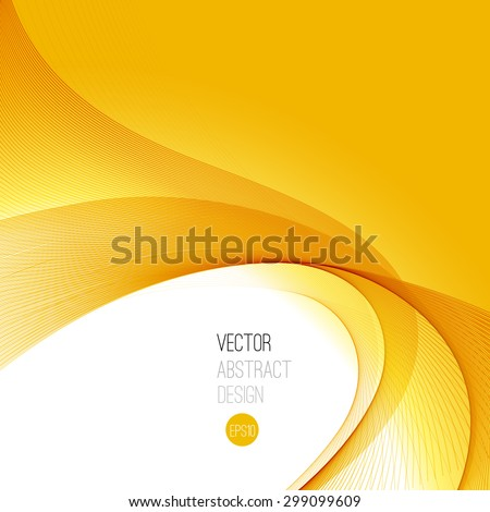 Orange Smooth wave stream line abstract header layout. Vector illustration - stock vector
