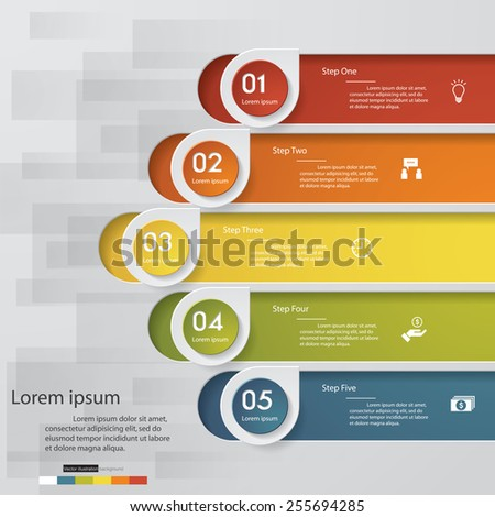5 order/steps template for website layout. Vector Illustration background. - stock vector